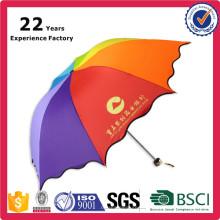Pequeño paraguas plegable colorido del arco iris promocional con la impresión del logotipo