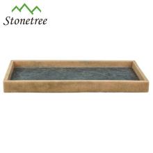 Nouveau plateau de rangement rectangulaire 100% en pierre naturelle avec plateau de service en marbre