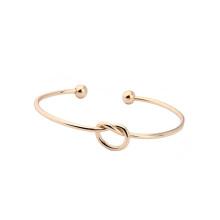Kostenlose Probe IP Plated Gold Tie der Knoten Glück Edelstahl Manschette Herz Knoten Armband Armreif