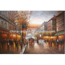 Pintura impresionista hecha a mano del paisaje de la calle de París París
