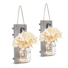 Fairy Lights Vintage Wrought Iron Hooks Silk Hydrangea Flower LED Strip Lights Design Home Kitchen Decoration Set of 2