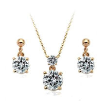 Fine AAA zircon jewelry set 18 carat gold earrings and necklace set guangzhou jewelry