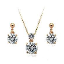 Штрафные ювелирные украшения из циркона AAA устанавливают серьги из золота 18 карат и ожерелье из набора ювелирных изделий Гуанчжоу