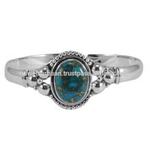 Blauer Kupfer Türkis Edelstein 925 Sterling Silber Armreif