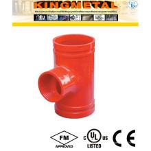 Raccords cannelés réducteurs de pièce en t de fonte ductile pour le système de feu