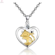 925 Sterling Silber Herz 14 Karat Gold Tier Diamant Anhänger Halskette