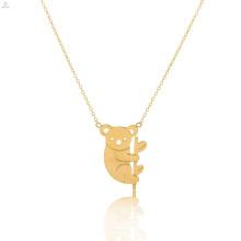 Collar de oro lindo del oso de peluche de la panda del acero inoxidable Collar lindo del encanto del animal de la koala
