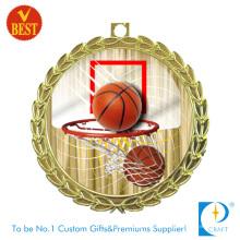 China personalizado impresso antiga medalha de basquete de chapeamento de ouro com carimbo de cobre
