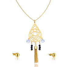 Дубай Рани Хаара 24k золото женщины комплект ювелирных изделий ожерелье циркон кисточкой