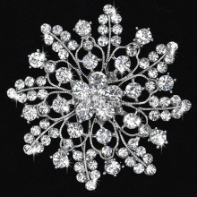 Beautiful Silver Clear Rhinestone Crystal Big Flower Pin Brooch for wedding and party