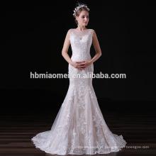 2017 mais recente moda vestido de noiva bordado sexy sereia rendas vestido de noite