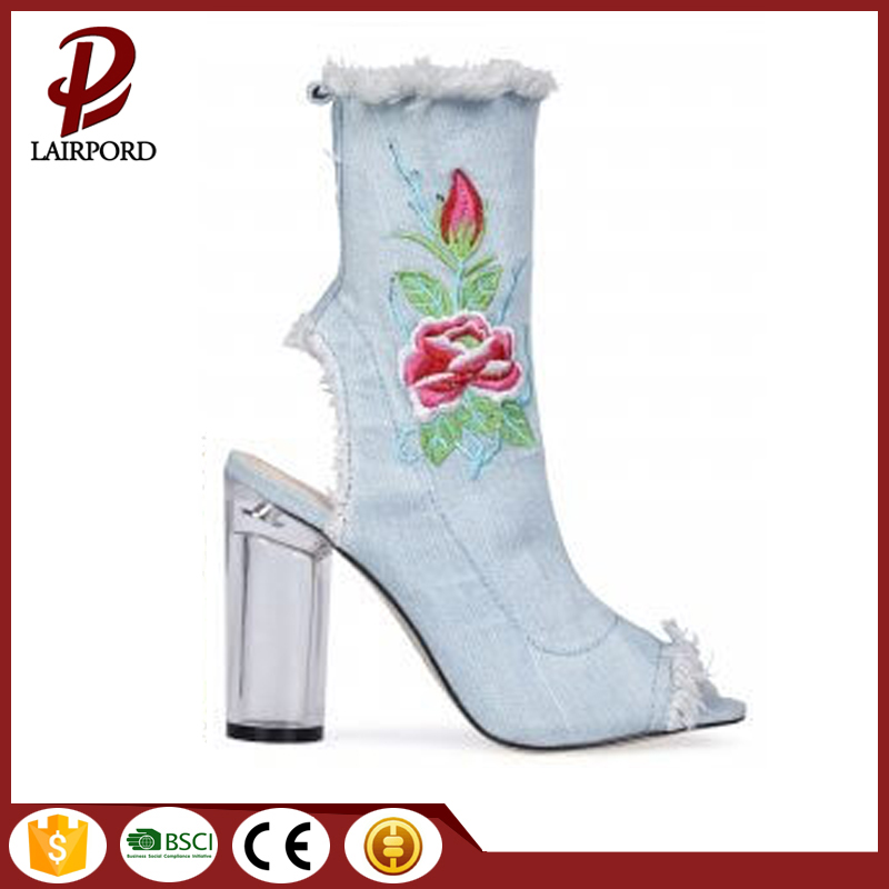 Women's Embroidery Floral open Toe booties sandal