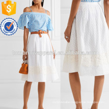 Lace-appliqued Broderie Anglaise Cotton Skirt Manufacture Wholesale Fashion Women Apparel (TA3032S)