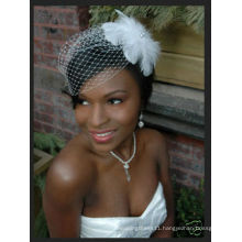 New Arrival Stunning Net White Bird Cage With Feather Wedding Veils