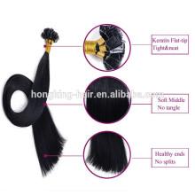 Dyeable en gros couleur noire remy cheveux humains kératine pré-lié cheveux U pointe V pointe nano anneau pointe plate cheveux