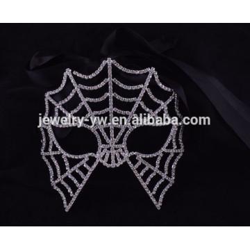 Moda metal plateado cristales completos máscara de hombre araña para el carnaval