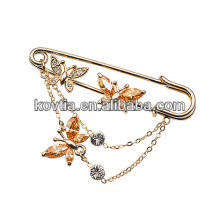 Gold plated butterfly women accessories crystal rhinestone brooch pins