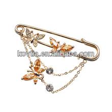 Ouro banhado a borboleta acessórios de cristal rhinestone broche pinos