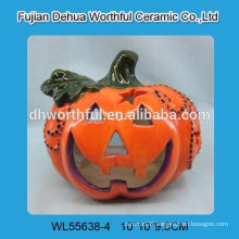 Decorative ceramic pumpkin tealight holder for halloween party decorations