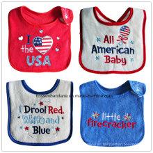 Baberos de bebé de felpa absorbente impermeable de dibujos animados bonitos bordados y apliques de algodón personalizados promocionales