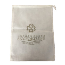 White logo printed non woven hotel laundry bag