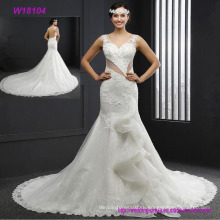 Сексуальная открытой спиной кружева бисером-линии с красивым поезд белое свадебное платье