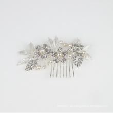 Accesorios para el cabello de la boda del peine del pelo nupcial del tocado de la flor de cristal de la perla hecha a mano