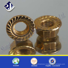 China Supplier Yellow Zinc DIN6923 Hex Flange Nut