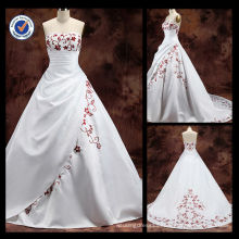 Wholesale 2014 New Satin 100% Elegant Sexy Bateau A-line With Red Embroidered Flowers Sweep Train Bridal Wedding Gown designer b