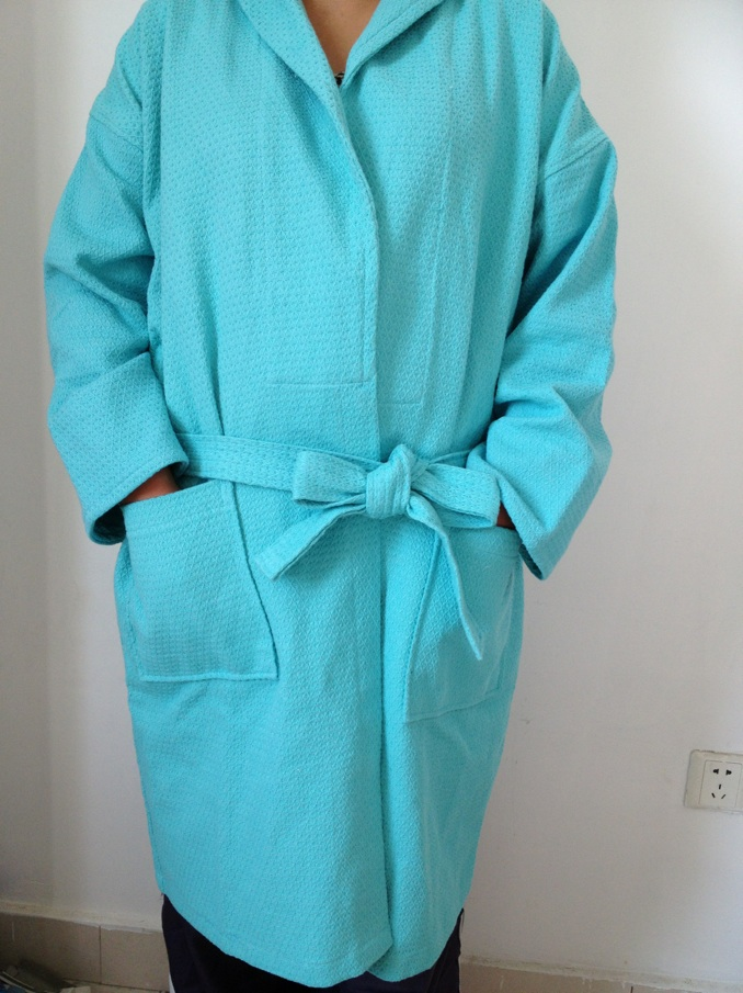 100%cotton waffle diamond pattern shawl collar bathrobe