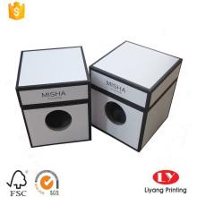 caixa de cartão branca da vela com impressão preta