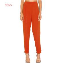 Calças de moda de abertura de perna magro laranja brilhante