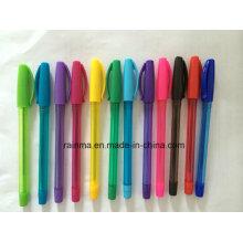 Bolígrafo de plástico de bola para volver a la fuente de papelería de la escuela