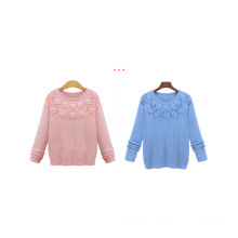 New Arrival Fashion Women High Quality Solid Pink And Blue Pullover Sweater