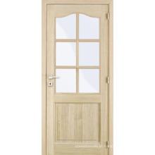 Inacabado Carvalho interior folheado arqueado superior composto de madeira vidro janela porta