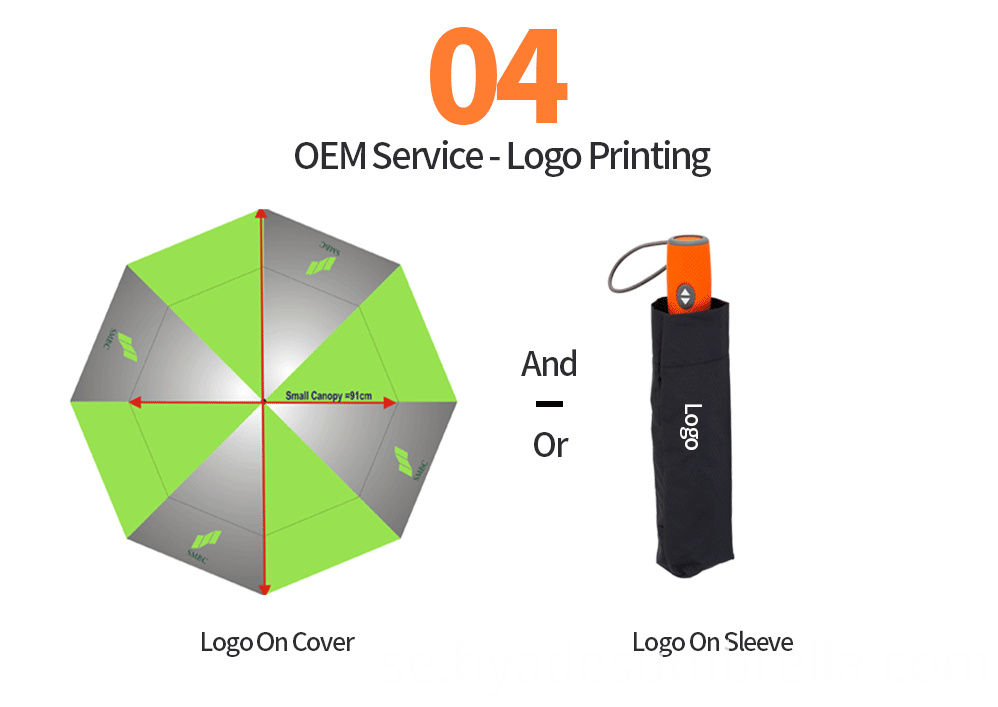 Auto Oepn And Close Folding Umbrella Double Layered Orange Handle 09