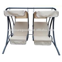 Cadeira de balanço de metal para jardim com 2 lugares