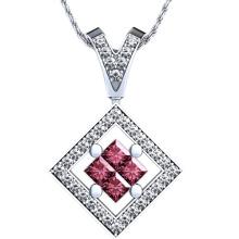 Squar Ruby Stone Micro Set Jóias de pingente de prata esterlina 925
