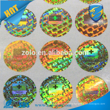 ZOLO top selling PET Custom 3d Hologram Sticker, high gloss permanent adhesive labels