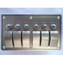 12V 24V 6 Gang Excellente Qualité avec Disjoncteurs En Aluminium LED Interrupteur À Bascule