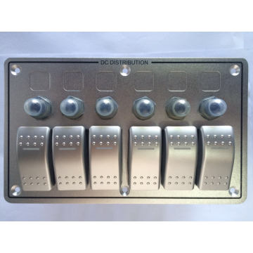12V 24V 6 Gang Excellent Quality with Circuit Breakers Aluminum LED Rocker Switch