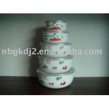 5 pcs enamel mixing bowl set