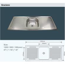 Lavabo de cocina portátil al por mayor del acero inoxidable de la colada de la mano del cuarto de baño que acampa con doble Drainboard