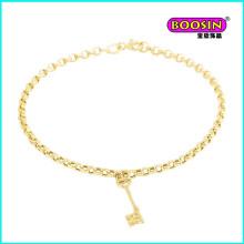Venda quente pulseira com chave de ouro em liga de alta qualidade joias