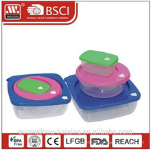 Plastic Square Food Container set 3pcs 0.23L/0.8L/1.9L