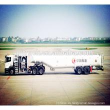 3 ejes 46000L Remolque de aviones o remolque de reabastecimiento de combustible / camión de aceite de avión / camión de combustible de transporte de combustible plano