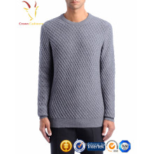 Men crew neck cable knit cashmere thick sweater pullover