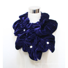 Woman Fashion Polyester Velvet Scarf with Acrylic Diamonds (YKY4384A)