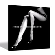 Cartel de las piernas de las mujeres atractivas blancos y negros / pinturas abstractas de la decoración de la pared / ilustraciones de la lona de Dropship