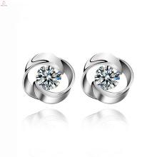 Declaración de las mujeres Rose Flower Design Wedding Stud 925 Sterling Silver Earrings